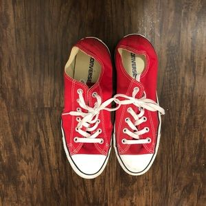 Converse red shoes size 10 in women's